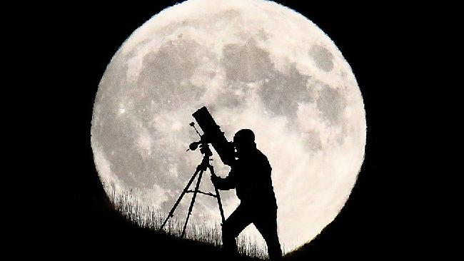 An British astronomer stargazes during a super moon. Picture: Jordan Mansfield
