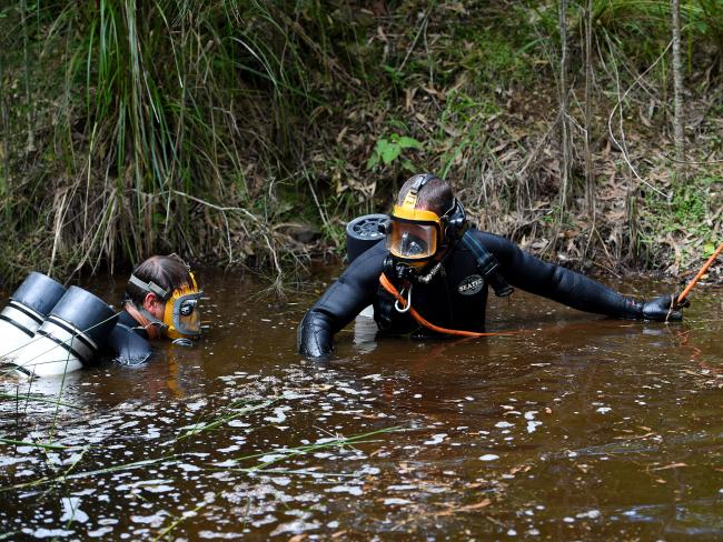 NSW Police divers search a dam for missing boy William Tyrrell on day three of the manhunt. Picture: Dan Himbrechts.