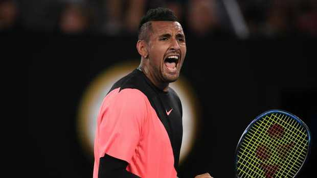 Nick Kyrgios overcame Jo-Wilfried Tsonga in four sets at the Australian Open