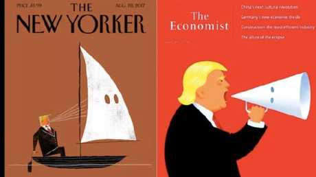 The New Yorker and The Economist took on Donald Trump's response to Charlottesville. Picture: The New Yorker, The Economist