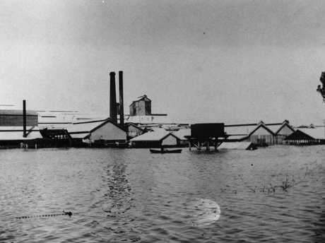 Floodwaters surround the Central Queensland Meat Export Company works at Lakes Creek during the 1918 Fitzroy River flood. Photo Courtesy the State Library of Queensland.