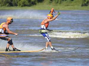 Over 40s ski racing on the Clarence River with the
