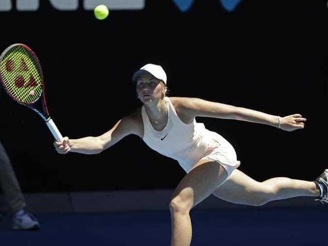 Ukraine's Marta Kostyuk hits a forehand return to compatriot Elina Svitolina during their third round match at the Australian Open tennis championships in Melbourne, Australia, Friday, Jan. 19, 2018.