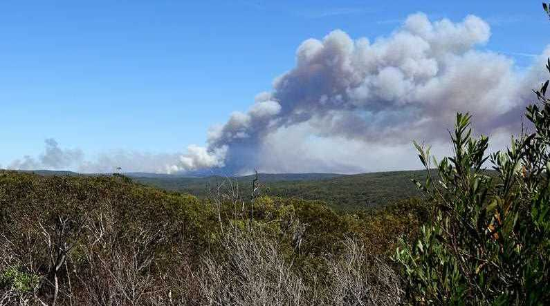 Smoke is seen from a bushfire burning in the Royal National Park, south of Sydney, Saturday, January 20, 2018. The park has been closed and an emergency warning has been issued for the bushfire that is currently out of control.