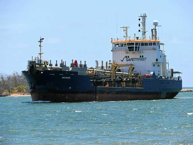 BRISBANE TO THE RESCUE: The hopper dredge Brisbane enters the Port of Bundaberg yesterday.