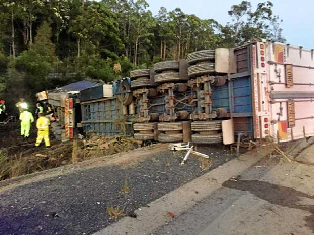 Emergency services were called to a truck roll-over on the Pacific Hwy at Scotts Head on Saturday