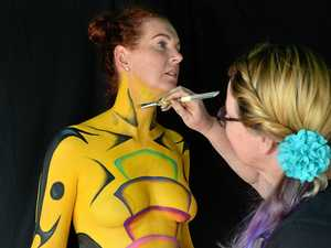 WILD THINGS: The Australian Body Art festival launched its 2018 theme of Wild Things. Artist Carleen Adorn works on Lisa Bingley.