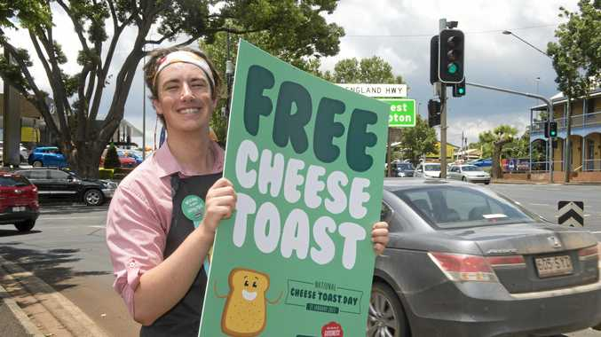 National Cheese Toast Day is in its second year, with the Rockhampton franchise dishing out the delicious treat right now. Pictured is Fergus Hilder spreading the word at Toowoomba Sizzler last year.