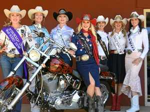 Miss Rodeo Australia entrants try Harley motorbikes on for size