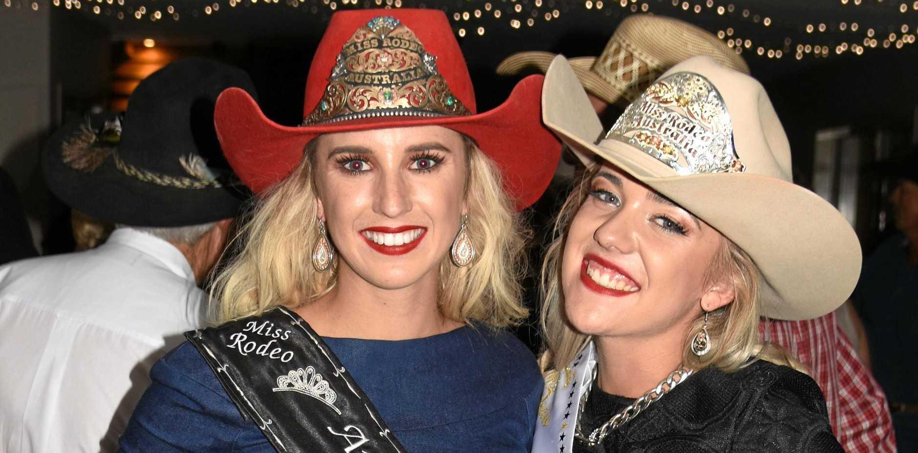 WINNER: Miss Rodeo Australia 2018 Dakota Michaelis from Petersborough after being crowned by Miss Rodeo Australia 2017 Emma Deicke in Warwick on Saturday night.