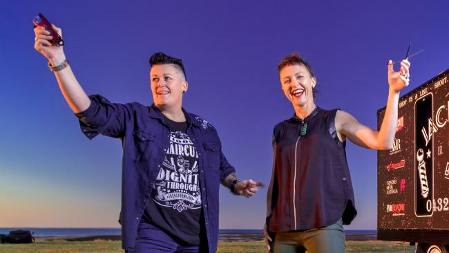 Teresa Reed and Danielle Hannah cut the hair of 1000 homeless people last year and they have a bigger plan for 2018. Photo: Marty Pouwelse