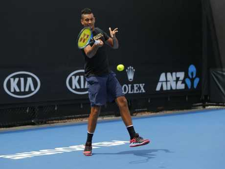 Nick Kyrgios looked at ease during the hit-up. Picture: Supplied