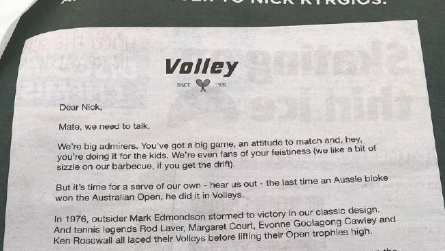 Volleys' cringe Nick Kyrgios' ad campaign.