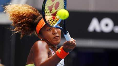 Naomi Osaka hit Ash Barty off the court. Picture: Michael Klein