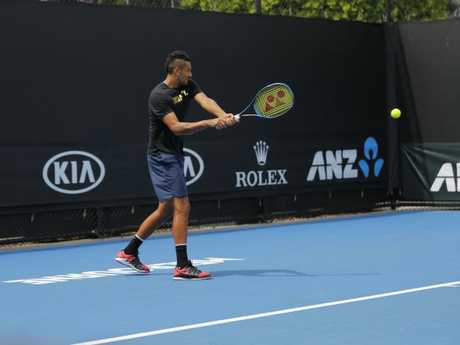 Nick Kyrgios at training. Picture: Supplied