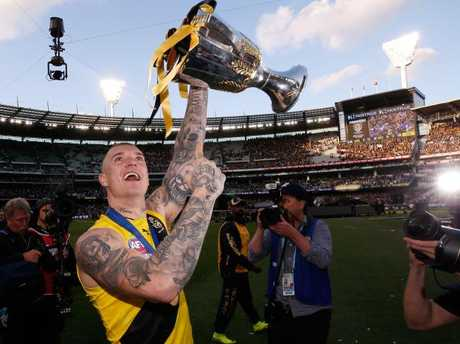 Dustin Martin celebrates after the 2017 AFL Grand Final. Picture: Darrian Traynor/AFL Media/Getty Images
