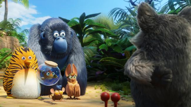 The heroes confront the evil koala in The Jungle Bunch.