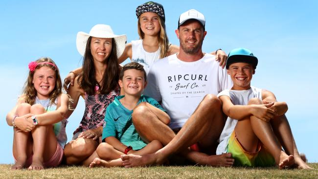 The Lee family including dad Simon and mum Jodie with kids James, 11, Abbey, 10, Heidi, 9, and Ethan, 6, from Tweed Heads. Picture: Adam Head