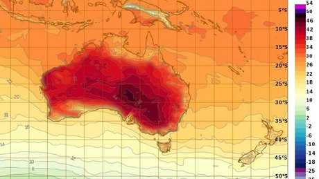 Forecast temperature map for Sunday. Inland, scorching conditions will persist. Picture: Bureau of Meteorology