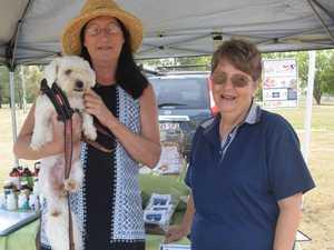 Linda Massey with her dog Mrs Jesshope, and Mary