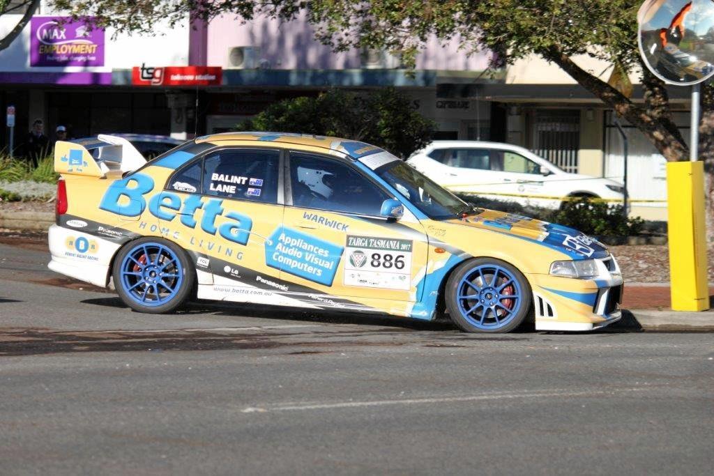 Driver Rob Balint and navigator Peter Lane from Team Betta Warwick in action in Targa Tasmania in their Mitsubishi Evolution.