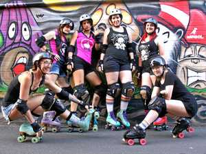 SPEED DEMONS: Members of the Northern Rivers Roller Derby squad love their sport which they reckon combines fun, fitness, a family-like community and is the best way to relax. L-R Midwife Crises, High Jinx, Anna Kiss, Sister Mercy, Mischief Maker and Willow.