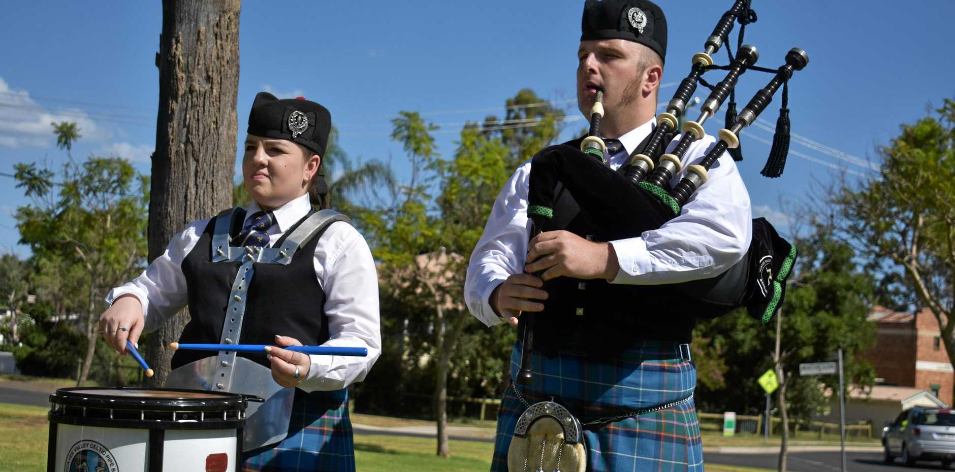 WORLD CHAMPIONSHIPS: Skye Johnson and Alex Clark playing their snare and pipes in Dalby.