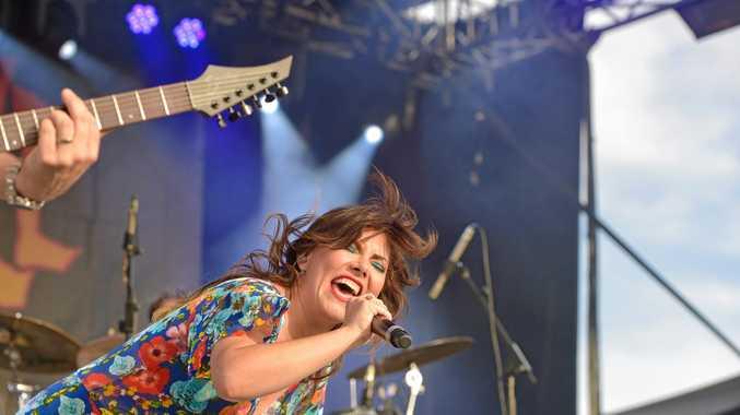 CROWD-PLEASER: Singer Ella Hooper during Killing Heidi's set at Marley Brown Oval on Saturday.