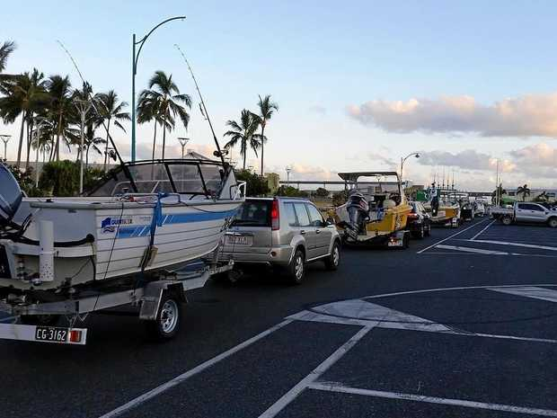Line to launch a boat at the Marina on the weekend in question