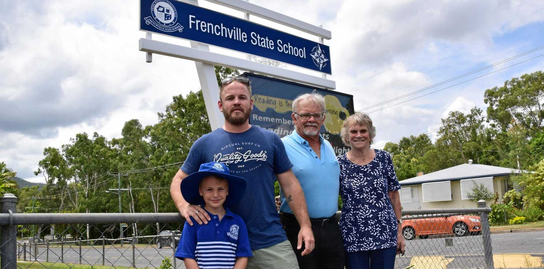 TRADITION: (From left) Braith Hermann, 5, Adam Hermann, 33, David Hermann, 65, and Janice Hutchinson (nee Hermann), 78, are four of the five generations of family who attended Frenchville State School after their ancestors used to own the land.