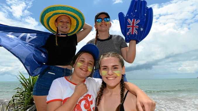 Back L-R Abbey Van Der Werff (14) and Stephanie Lowcock (15), Front L-R Zoey Caroline (14), and Rose Visallli (16) at the Great Australia Day Beach Party in Yeppoon. Photo: Chris Ison / The Morning Bulletin