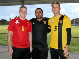 BOOST: Fire's new signings Doug Brown (L) and Gabriel Durand (R) with coach Ali Demircan.