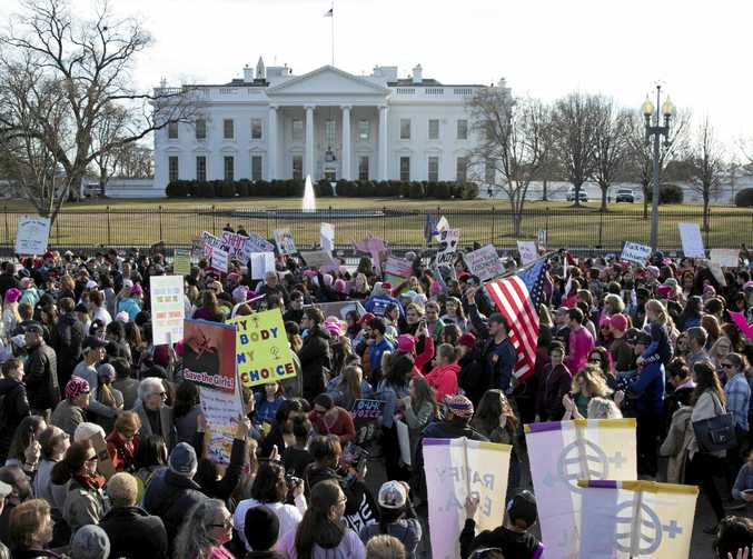 Thousands of people participate in the Women's March on Pennsylvania Avenue outside the White House in Washington DC.