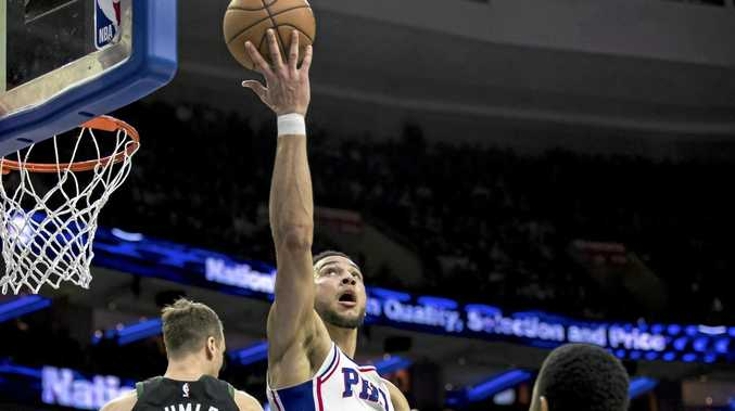 Philadelphia 76ers' Ben Simmons goes airborne against the Milwaukee Bucks