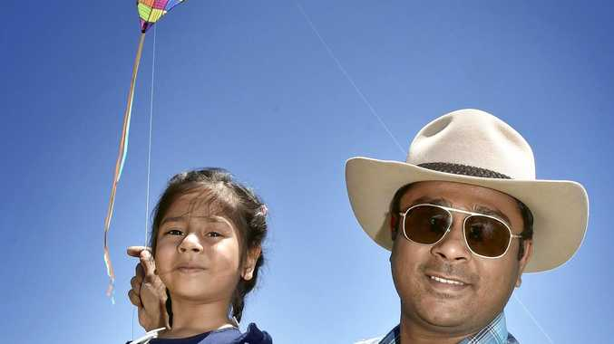 Vishal Vora and his daughter Swara Vora. Members of the Indian community gathered at Lake Cooby to celebrate the Kite festival.. January 2018