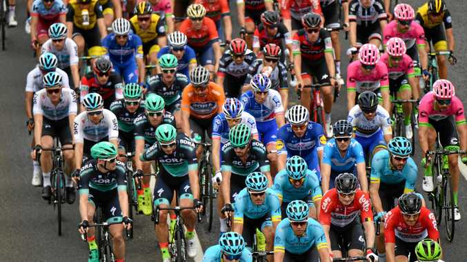 DONE: Jay McCarthy, just left of Peter Sagan (ochre jersey), in action at the Tour Down Under.