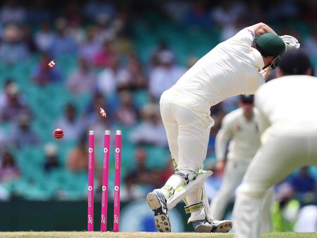 Bancroft is clean bowled at the SCG. Picture: Brett Costello