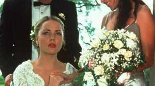 Melissa George, as Angel, gets wheeled in to her wedding on Home and Away. Picture: Supplied.