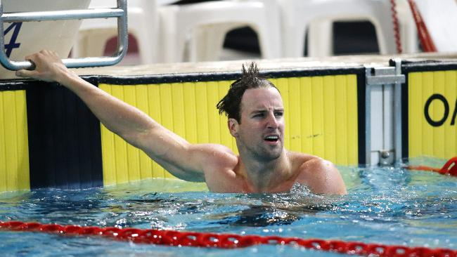 Winner James Magnussen pictured during the Mens Open 100m Freestyle at the Swimming Queensland 2017 McDonalds Queensland Championships at the Sleeman Swimming Centre, Brisbane 11th of December 2017. (AAP Image/Josh Woning)