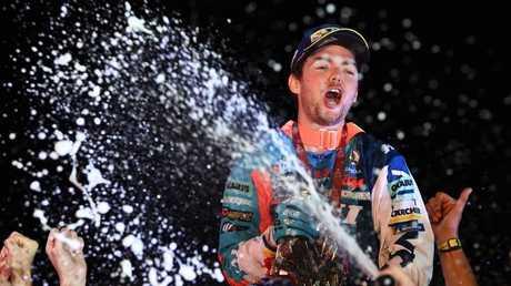 Walkner celebrating on the podium in Cordoba.