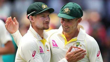 Cameron Bancroft (left) and Shaun Marsh were the best of the Australian batsmen.