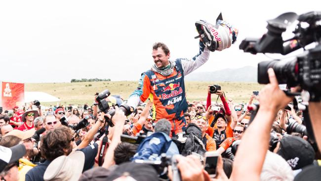 Matthias Walkner celebrates victory at the end of the 2018 Dakar Rally. Pic: PhotosDakar.com / KTM