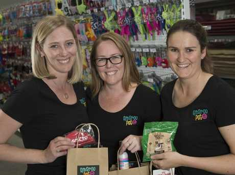 Amaroo Pet's (from left) Emily Grimes, Renine Anderson and Jess Maxwell celebrating the business's first birthday.