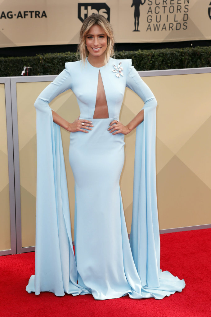 Renee Bargh arrives for the 24th annual Screen Actors Guild Awards ceremony at the Shrine Exposition Center in Los Angeles, California, USA, 21 January 2018. The SAG Awards honors the best achievements in film and television performances. EPA/MIKE NELSON