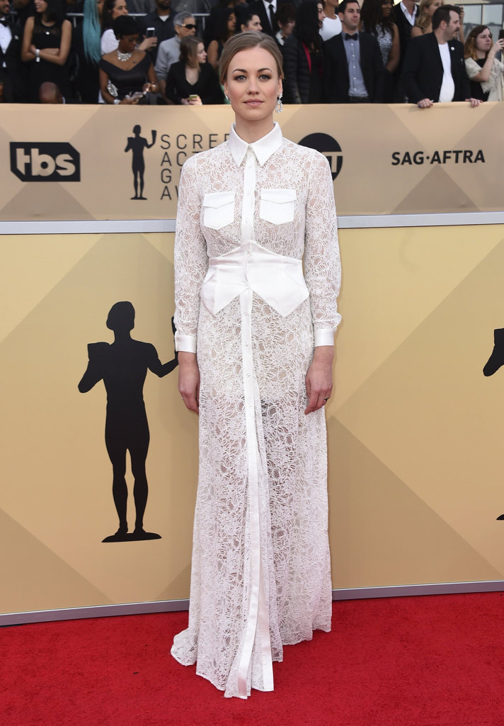 Yvonne Strahovski arrives at the 24th annual Screen Actors Guild Awards at the Shrine Auditorium & Expo Hall on Sunday, Jan. 21, 2018, in Los Angeles. (Photo by Jordan Strauss/Invision/AP)