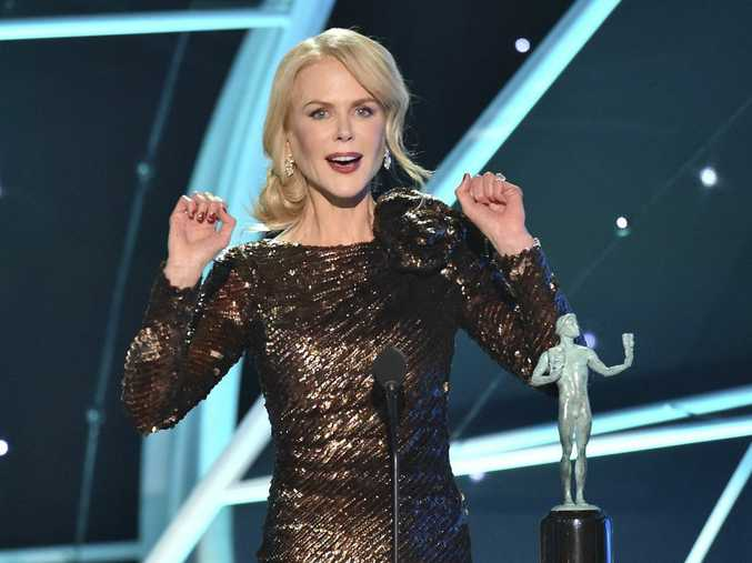 Nicole Kidman accepts the award for outstanding performance by a female actor in a television movie or limited series for Big Little Lies at the 24th annual Screen Actors Guild Awards.