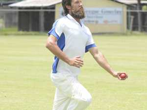 Tucabia fast bowler Brad Chard apporaches the crease