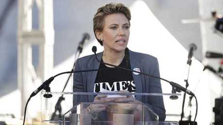 Actress Scarlett Johansson speaks at a Women's March against sexual violence and the policies of the Trump administration Saturday, Jan. 20, 2018, in Los Angeles.