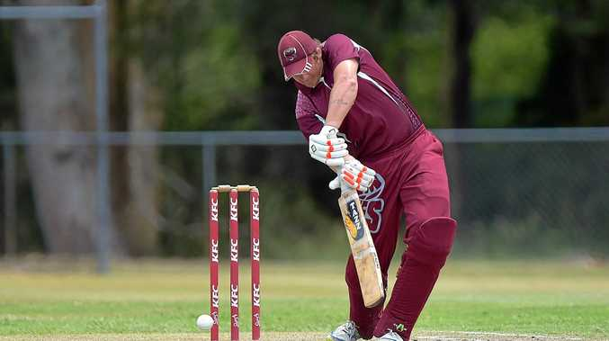 HIGH HOPES: Caboolture is on the cusp of sealing the minor premiership.  Caboolture batsman Ryan Baker keeps an eye on the ball.