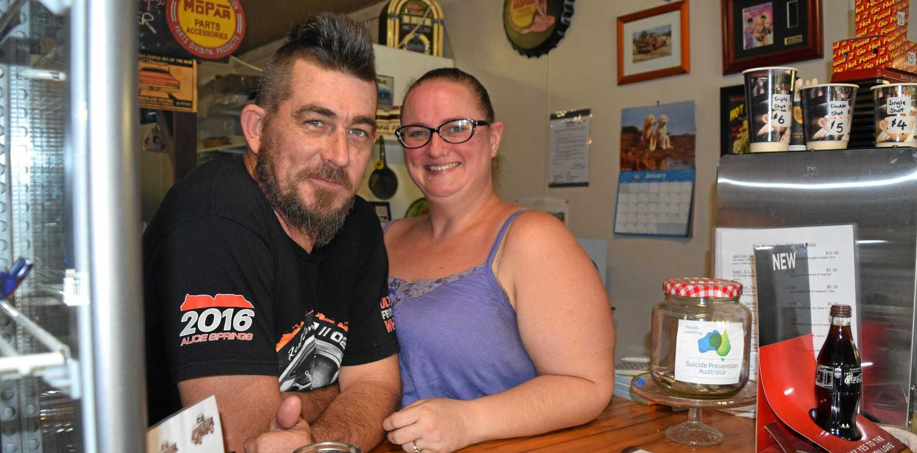 AN AUSSIE PICK-UP: Ash and Linda Blake of The Rusty Ute Cafe hope to see a boost from the Lower Wonga solar farm development.